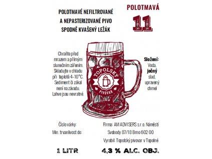 11 polotmava 1L pet etiketa
