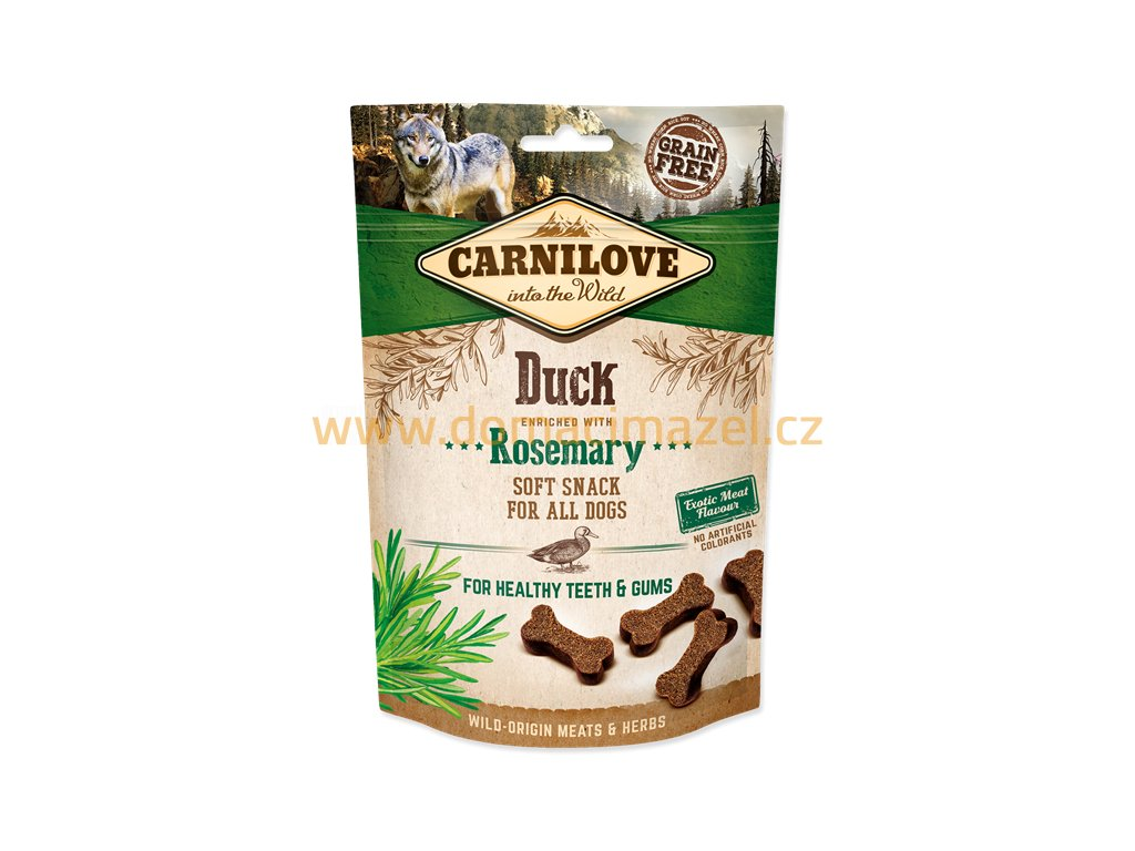 0202948 carnilove dog semi moist snack duck enriched with rosemary 200g 600