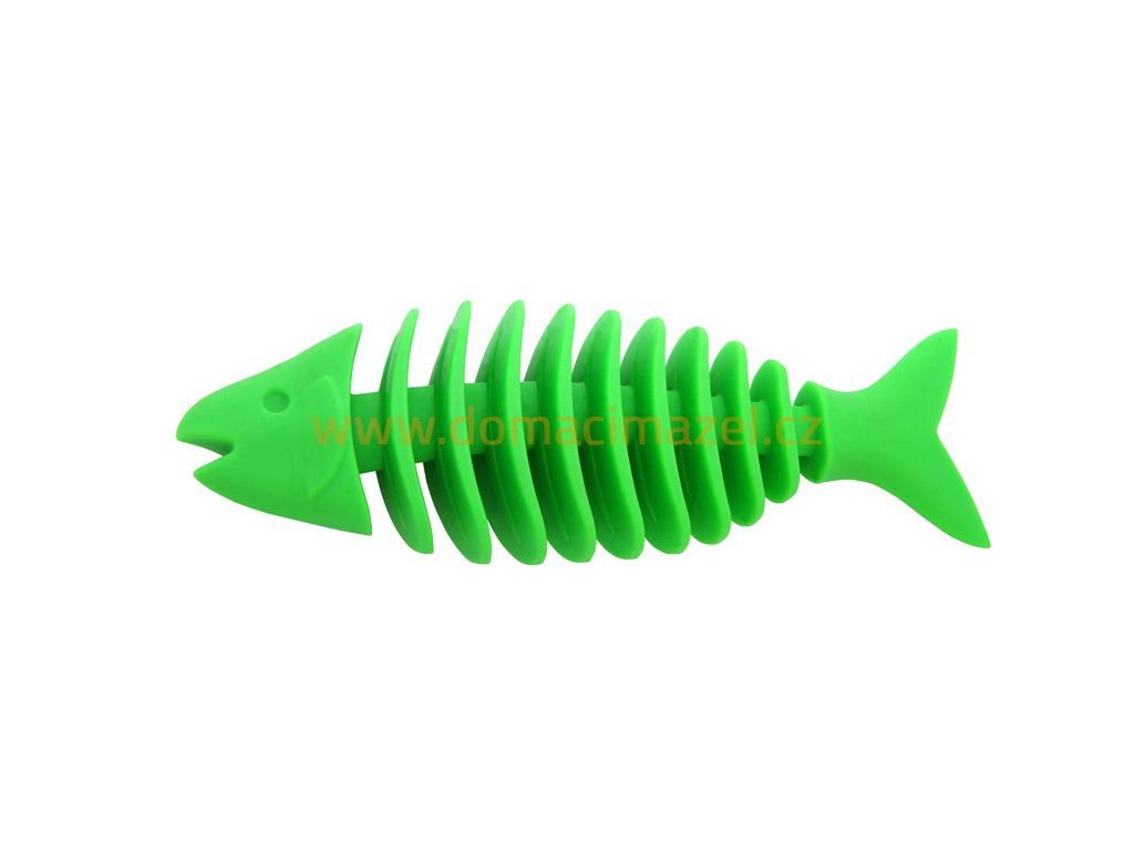 Dent a Chew Fishbone 16cm large scented solid rubber pet toy dog Essenti Enterprises, LLC importer, exporter, supplier, distributor of pet products