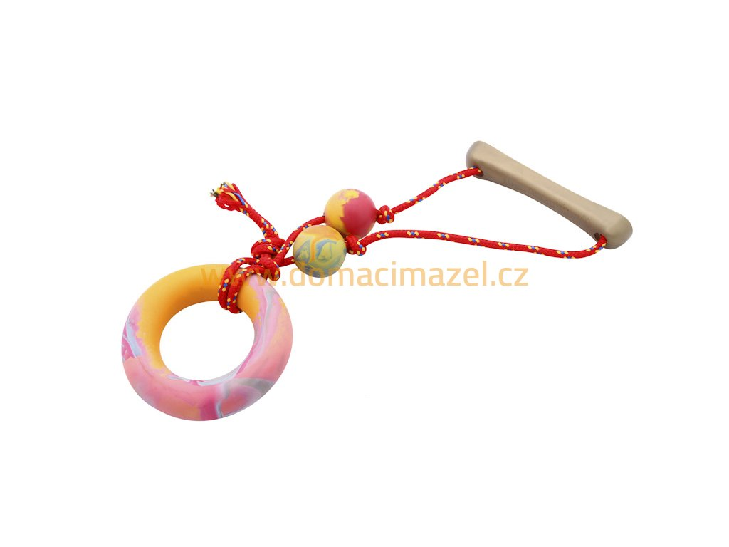 A3 Ring with rope small scented solid rubber pet toy dog Essenti Enterprises, LLC importer, exporter, supplier, distributor of pet products
