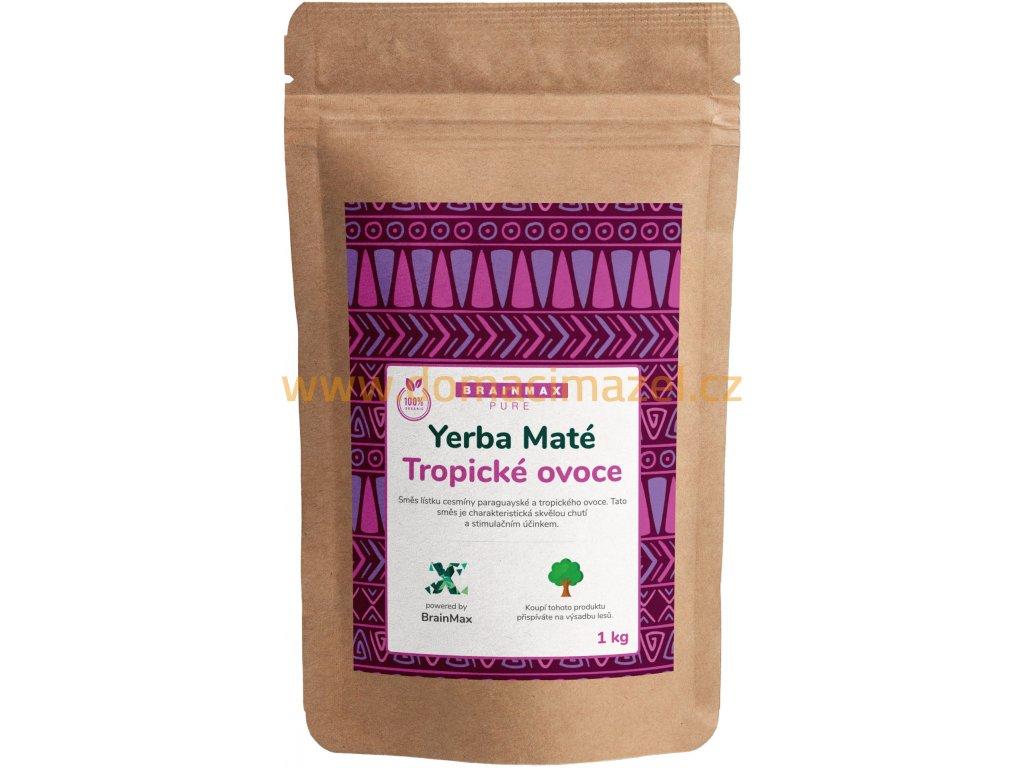 BrainMax Pure Organic Yerba Maté - Tropické ovoce, 1000 g