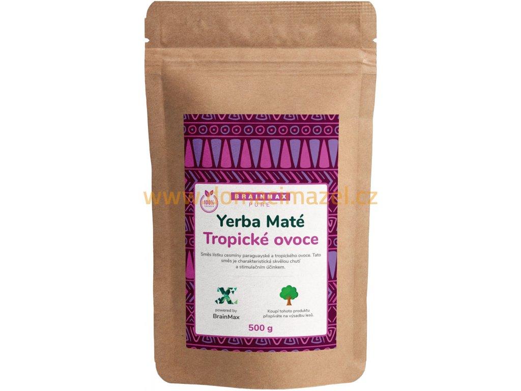 BrainMax Pure Organic Yerba Maté - Tropické ovoce, 500 g