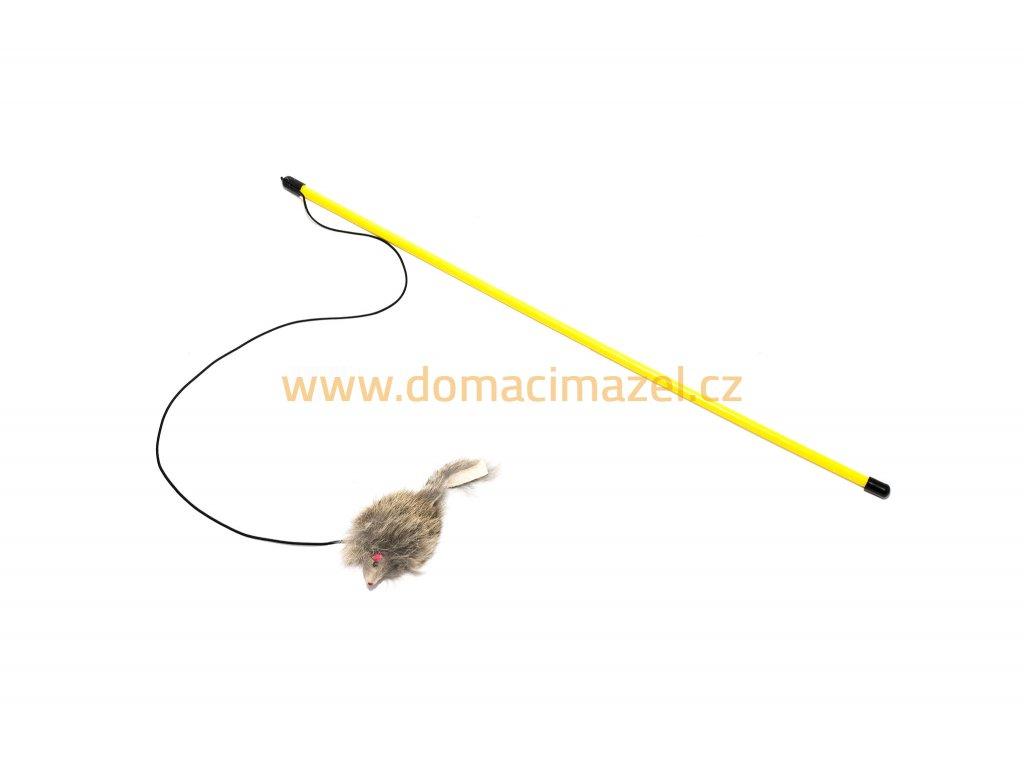 Proutek s myškou na gumičce (50 cm)   DomáciMazel.cz