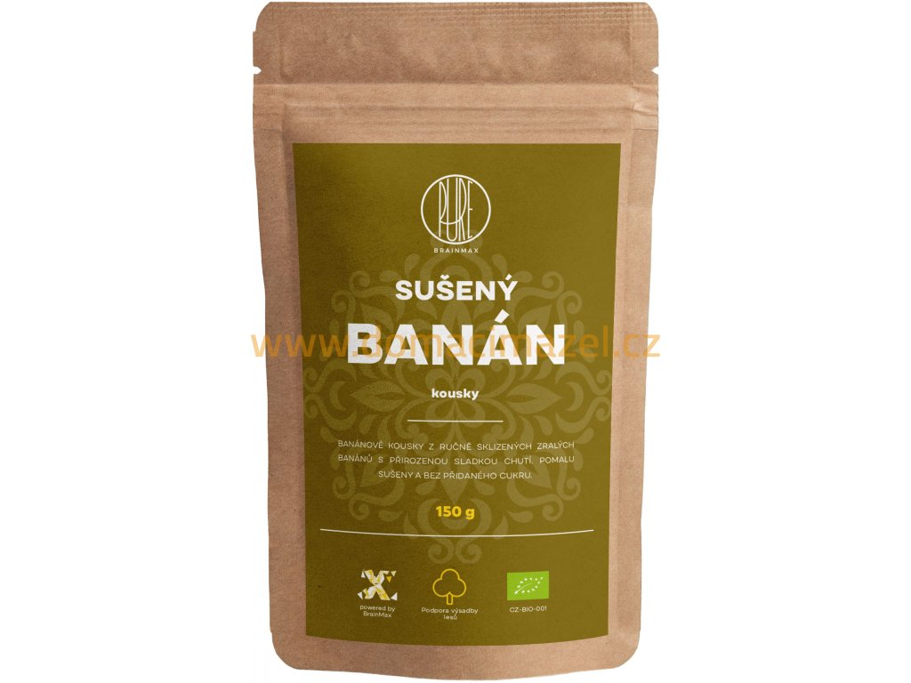BrainMax Pure Sušený banán - kousky BIO, 150 g