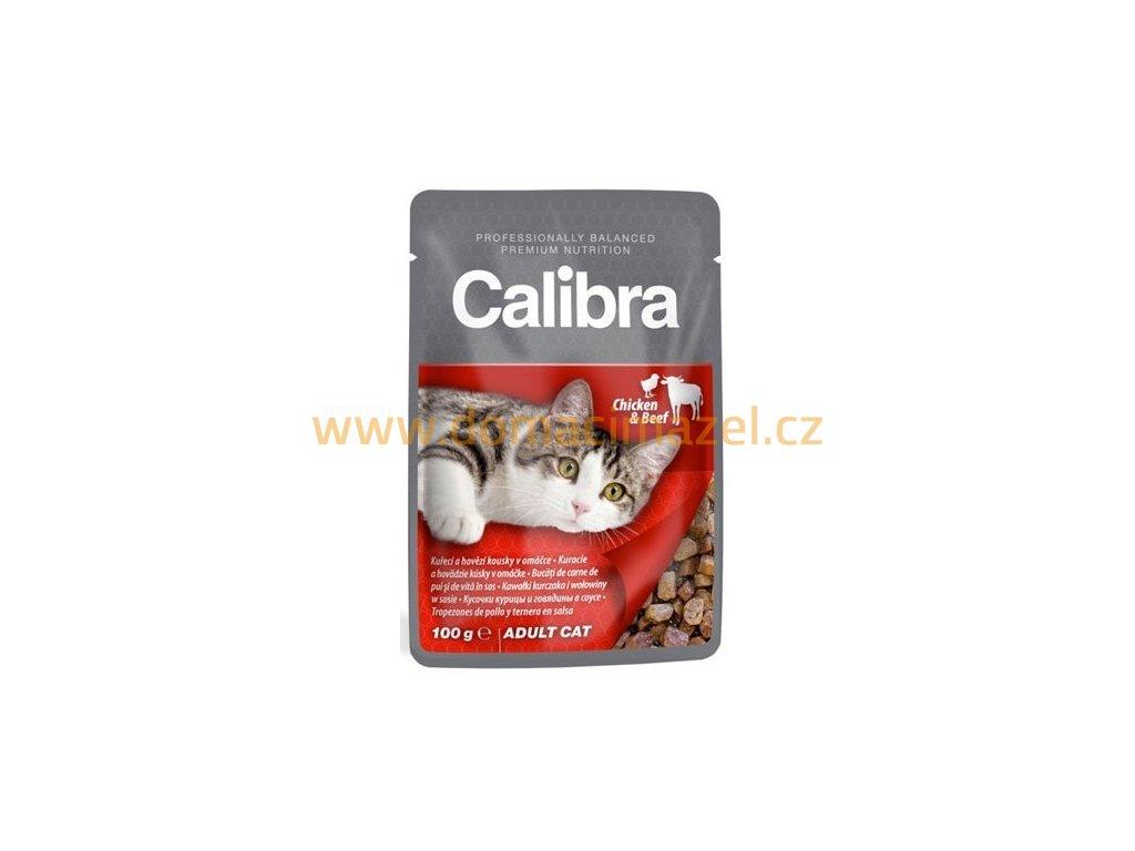calibra cat 100g kapsa kureci a hovezi kousky v omacce