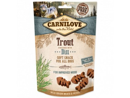 0202974 carnilove dog semi moist snack trout enriched with dill 200g 600