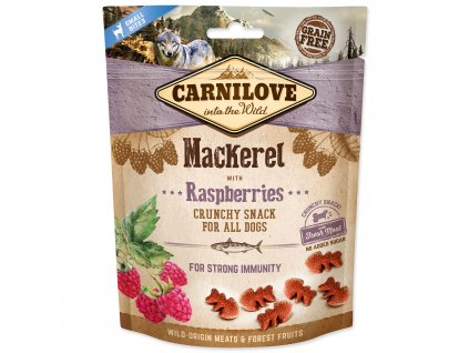 0202616 carnilove dog crunchy snack mackerel with raspberries with fresh meat 200 g