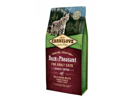 carnilove cat duck pheasant adult hairball control 6 kg