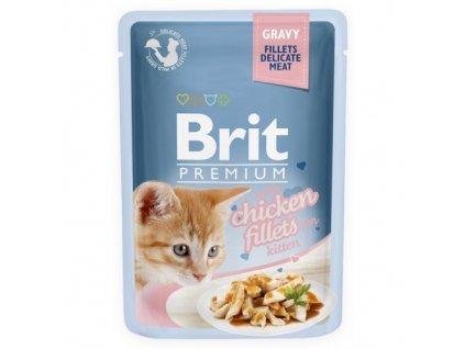 brit premium 85g kitten kaps filety s kuretem ve stave 1ks 24ks