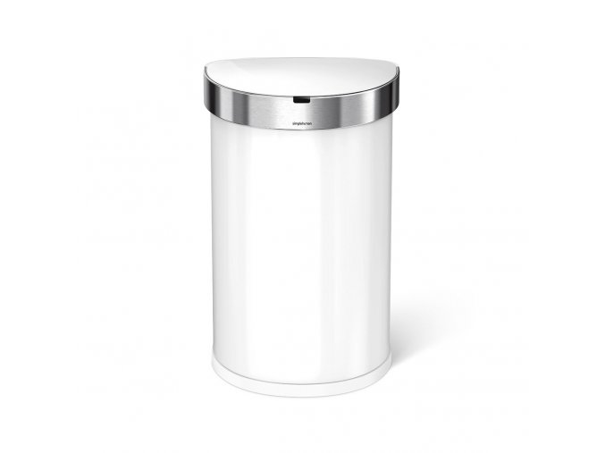 16178 bezdotykovy odpadkovy kos simplehuman 45 l pulkulaty bila ocel kapsa na sacky