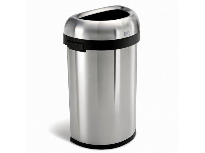 14984 odpadkovy kos simplehuman pro komercni vyuziti 60 l pulkulaty otevreny kartacovana ocel