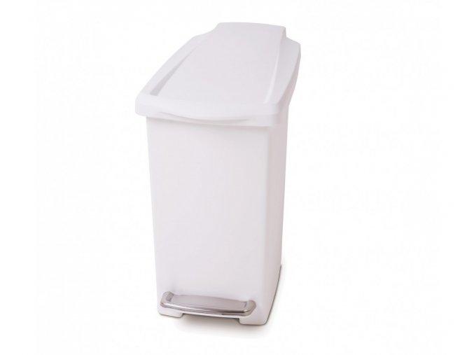 15014 pedalovy odpadkovy kos simplehuman 10 l uzky bily plast