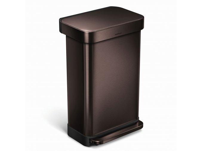 15665 pedalovy odpadkovy kos simplehuman 45 l tmavy bronz obdelnikovy dark bronze