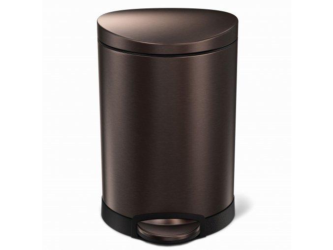 15650 pedalovy odpadkovy kos simplehuman 6 l pulkulaty tmavy bronz dark bronze