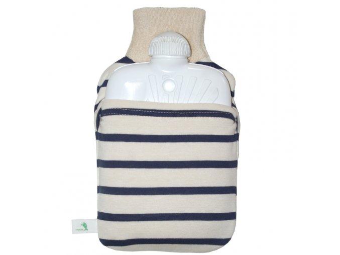 Dětský termofor Hugo Frosch Eco Junior Comfort s pruhovaným obalem z Bio bavlny