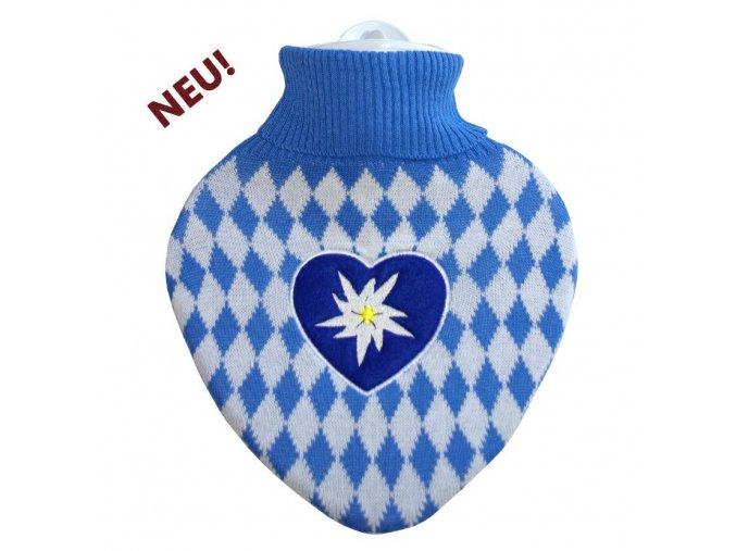 klasicky termofor srdce bavaria bilo modry