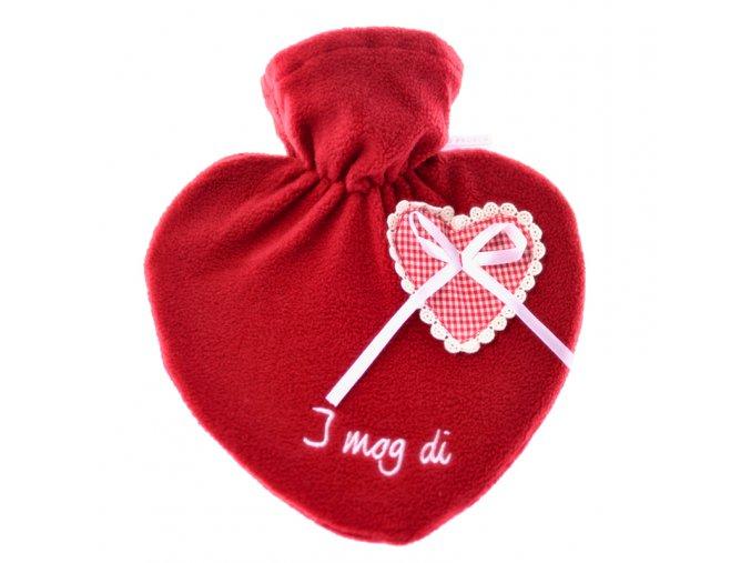 Termofor Hugo Frosch s červeným obalem ve venkovském stylu s výšivkou – srdce