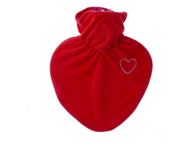 Termofor Hugo Frosch ve tvaru srdce se sametovým červeným obalem a výšivkou