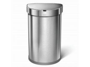 Bezdotykový odpadkový koš Simplehuman - 45 l, půlkulatý, matná ocel, FPP, kapsa na sáčky