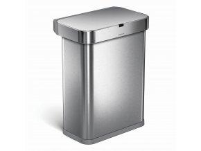 16310 bezdotykovy odpadkovy kos simplehuman s hlasovym a pohybovym sensorem 58 l nerez