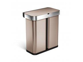 17081 bezdotykovy odpadkovy kos simplehuman recycler s hlasovym a pohyb sensorem 58l rose gold