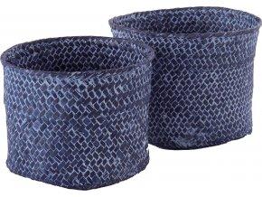 16712 set 2 ks pletenych kosiku compactor mika maly 14 x 11 cm velky 16 x 12 cm modry jeans