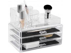 15734 velky organizer na kosmetiku compactor 3 zasuvky horni ulozny prostor ciry plast