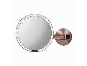 Kosmetické zrcátko na zeď, Simplehuman Sensor, LED osvětlení, 5x, síťové, rose gold ocel