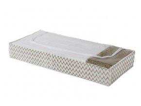 Nízký textilní úložný box na oblečení a přikrývky Compactor Ikat 107 x 46 x 16 cm, béžový