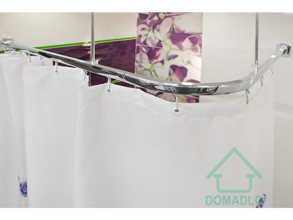 KOLEJNICOVÁ ZÁVĚSOVÁ TYČ do sprchového koutu 160x70 cm STŘÍBRNÁ