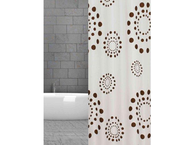 sprchový závěs textilní hnědé kruhy w20382 weiss braun Kreise