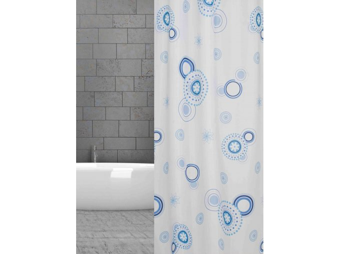textilní závěs sprchový kout modrá kola w07976 blau Kreise domadlo