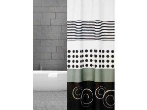 sprchový závěs textilní black and white domadlo