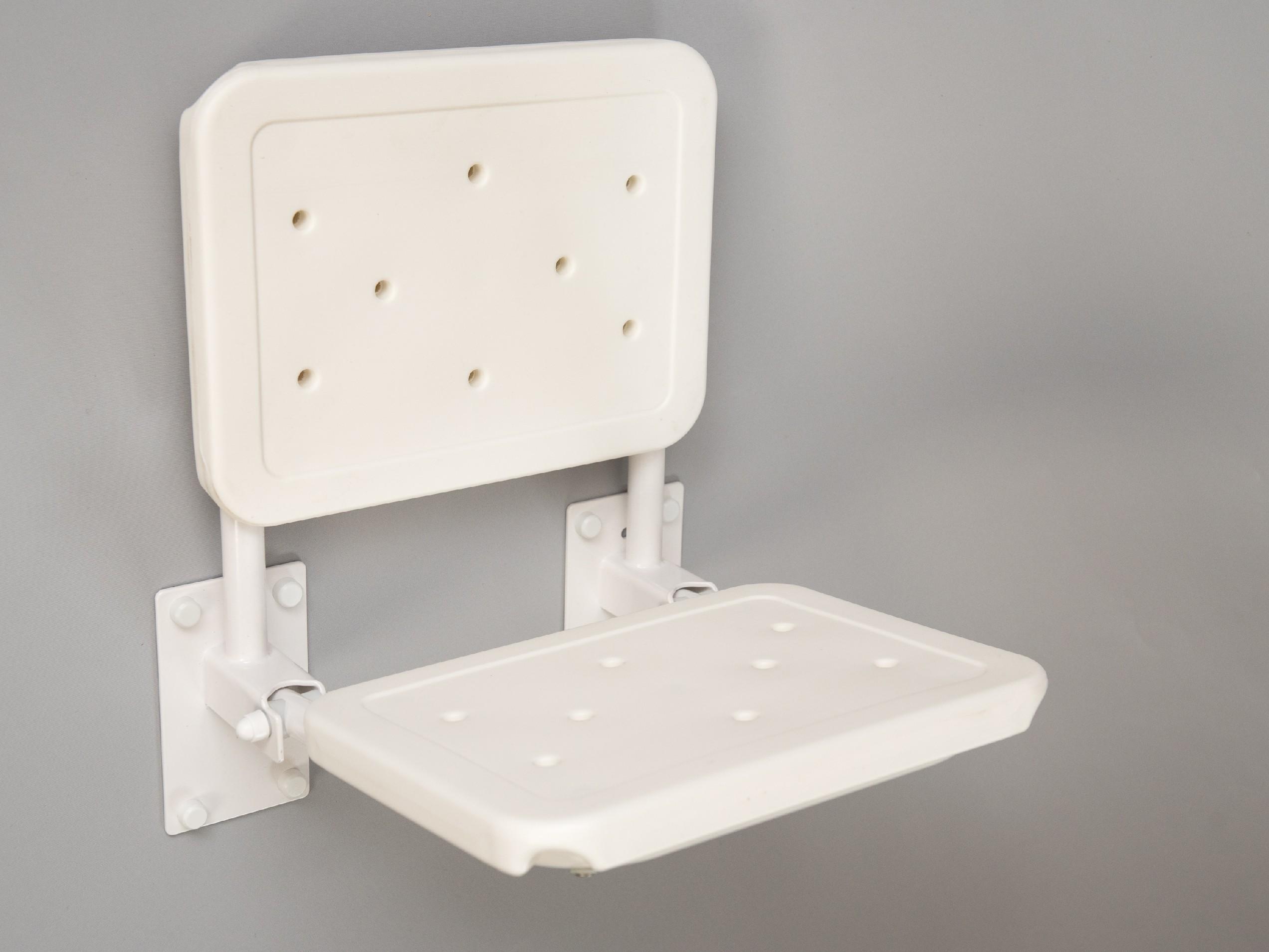 sprchové sedátko sklopné závěsné BÍLÉ s opěradlem COMPACT
