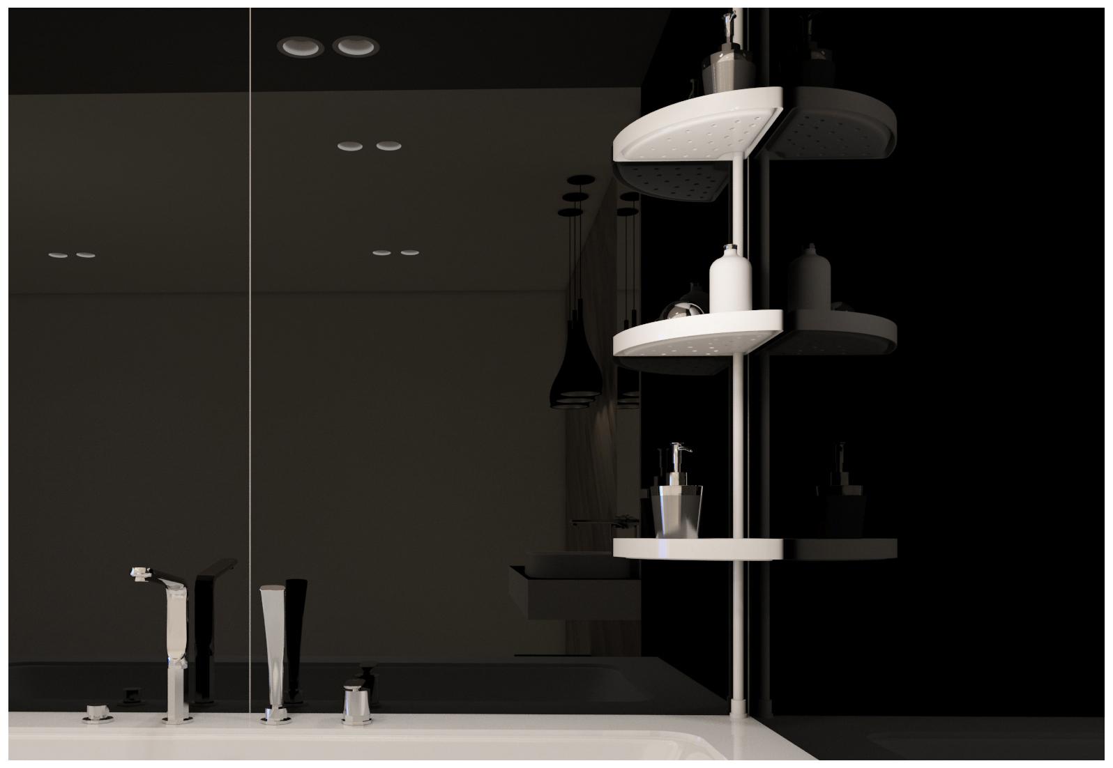 rohová teleskopická police do sprchy bílá výška: 70 - 200 cm
