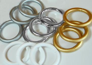 kroužky stříbrné na závěsy