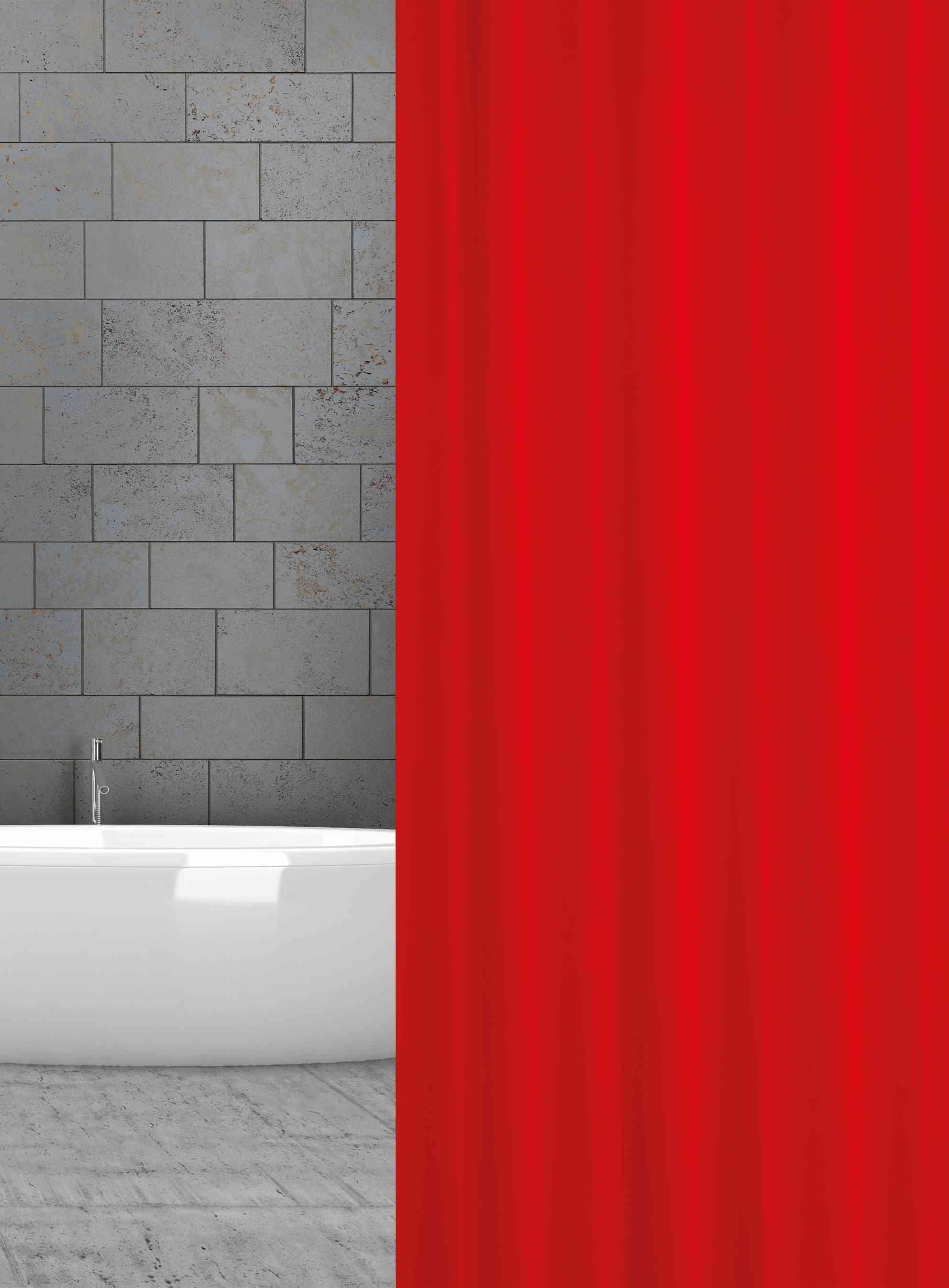 textilní závěs do sprchového koutu červený šířka x výška: 120 x 180