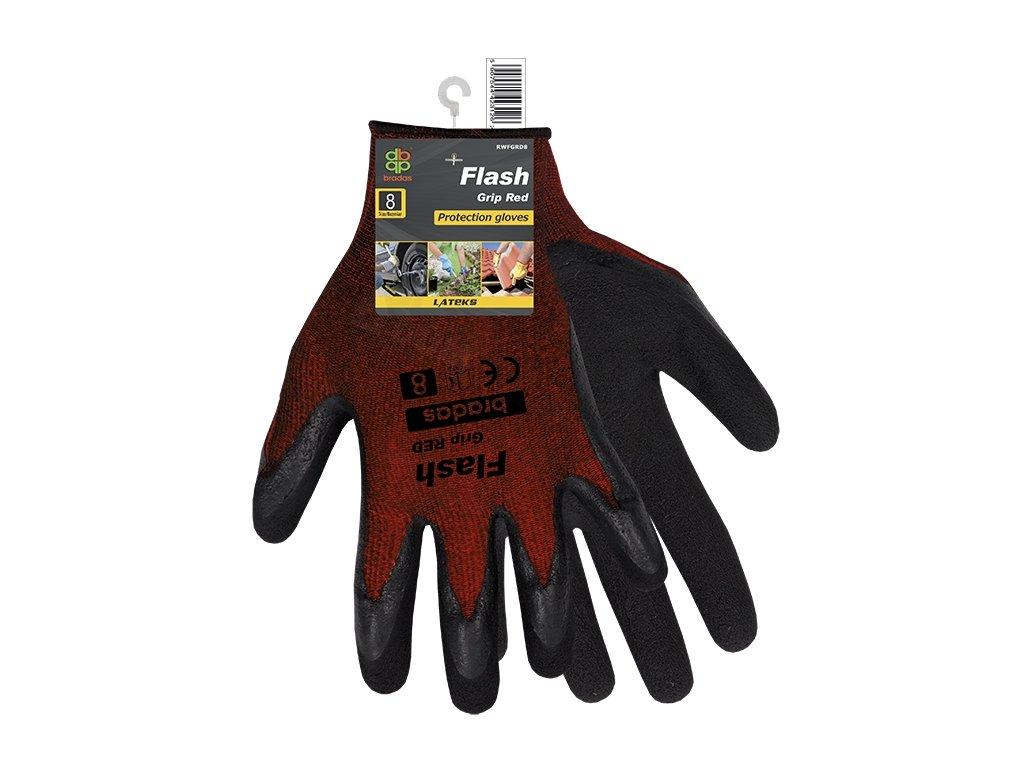 2186 ochranne rukavice bradas flash grip red latex vel 10