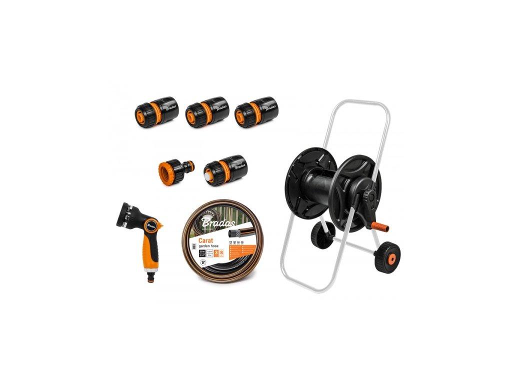 1010 zahradni hadice 20m 1 2 black line s vozikem a prislusenstvim