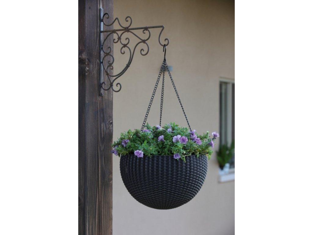 329 zavesny kvetinac keter hanging sphere grey
