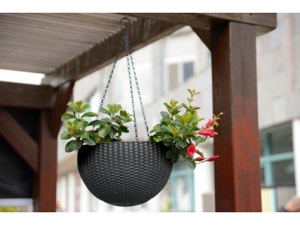 326 zavesny kvetinac keter hanging sphere brown