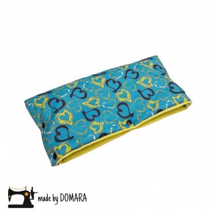 Rukávník (modrá srdíčka/limetkový fleece)
