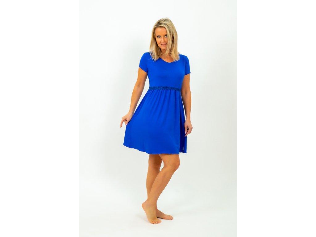 šaty s jedním volánem v královské modři