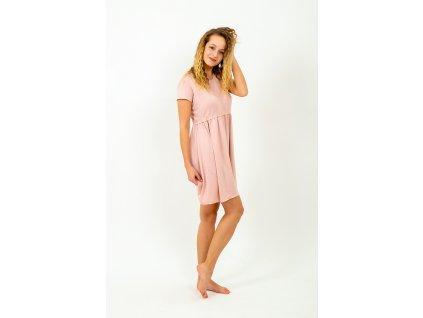 šaty s jedním volánem ve starorůžové
