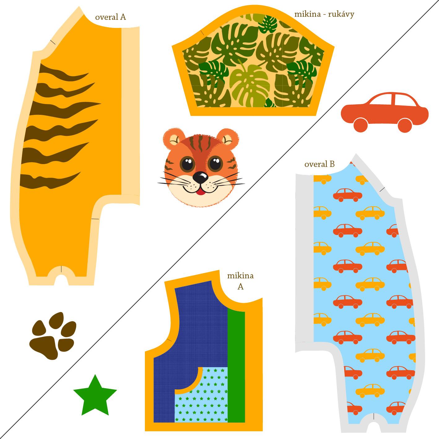 Návod k ušití oblečků s tygříkem a s autíčky
