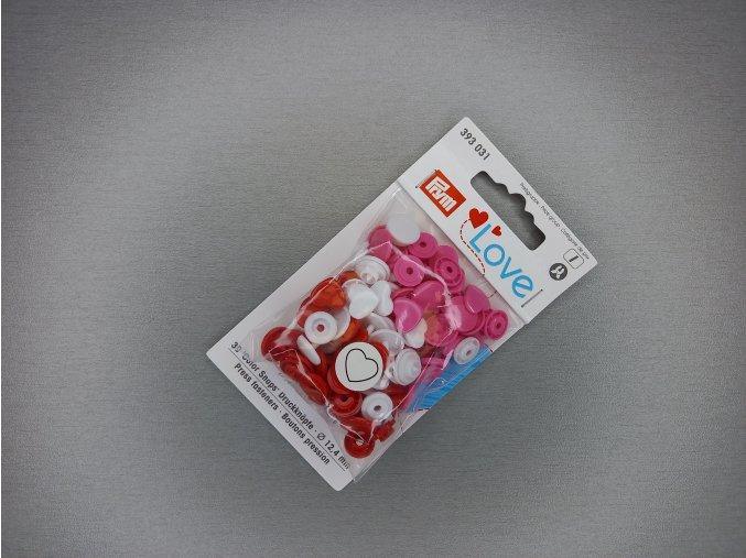 """Patentky """"Color snaps"""" PRYM LOVE srdíčka bílo-červená"""