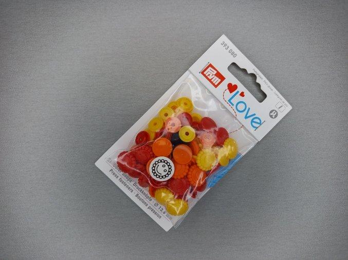 """Patentky """"Color snaps"""" PRYM LOVE květinky žluto-červené"""