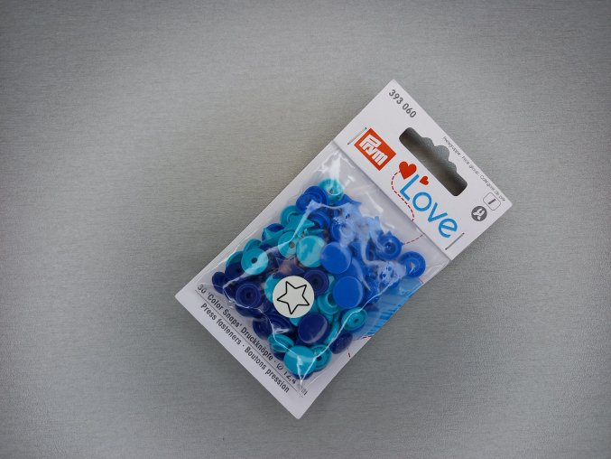 """Patentky """"Color snaps"""" PRYM LOVE hvězdičky modro-tyrkysové"""