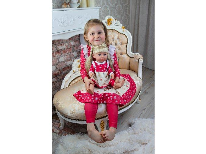 !!!PŘEDOBJEDNÁVKA!!! Kompletní vánoční sada (dětské šaty+legíny+oblečky na panenku)