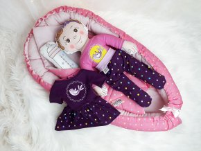 Velká růžová sada miminko + hnízdečko + oblečky + zavinovačka zdarma